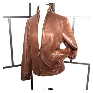 Banana Republic brown fitted leather jacket